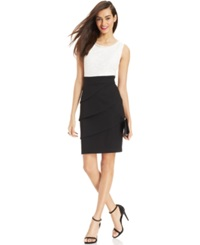 Connected Petite Lace Tiered Colorblock Sheath Ivory Black