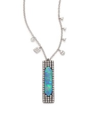 Meira T Boulder Opal Diamond And 14K White Gold Pendant Necklace White Gold Opal