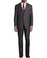Hickey Freeman Stripe Worsted Wool Suit Grey Pink