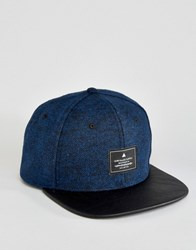 Asos Snapback Cap In Navy Tweed With Contrast Peak Navy