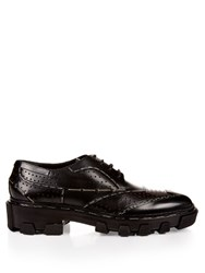Balenciaga Exposed Stitch Perforated Leather Lace Up Shoes Black