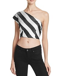 Kendall And Kylie One Shoulder Stripe Crop Top White Black