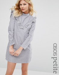 Asos Petite Ruffle Front Dress In Cotton Stripe Multi