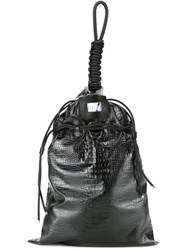 22 4 By Stephanie Hahn Crocodile Skin Effect Drawstring Tote Bag Black