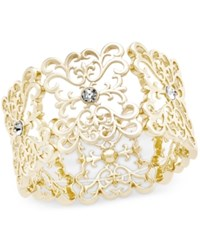 Inc International Concepts Crystal Filigree Stretch Bracelet Only At Macy's Gold