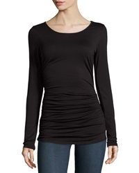 Max Studio Ruched Long Sleeve Jersey Tee Black