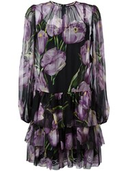 Dolce And Gabbana Tulip Print Sheer Dress Pink And Purple