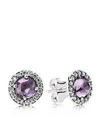 Pandora Design Pandora Earrings Sterling Silver Amethyst And Cubic Zirconia Glamorous Legacy Stud Silver Amethyst