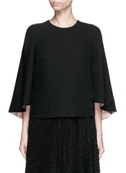 Valentino Open Back Batwing Sleeve Silk Top Black