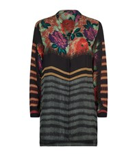 Etro Rose Print Silk Kaftan Shirt Female Black
