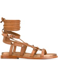 Ash Flat Gladiator Sandals Brown