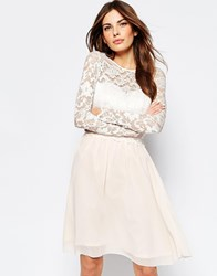 Little Mistress Skater Dress With Lace Overlay And Long Sleeves Nude Cream