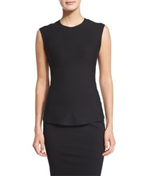 Donna Karan Sleeveless Crewneck Jersey Top Black