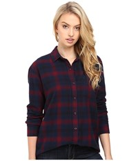 Obey Montague Button Down Navy Burgundy Multi Women's Clothing