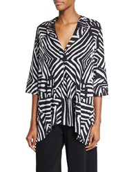 Fuzzi Half Sleeve Tribal Print Blouse Black
