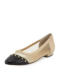 Neiman Marcus Gertrud Studded Leather And Mesh Flat Beige Pudding Black