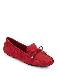 Saks Fifth Avenue Nubuck Suede Drivers Red