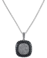 No Vendor Effy Black And White Diamond Square Pendant Necklace In 14K White Gold 2 Ct. T.W.