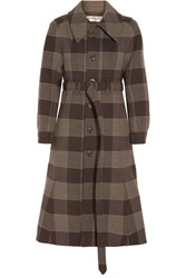Balenciaga Belted Checked Wool Coat Brown