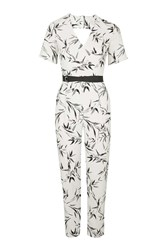 Topshop Belted Bamboo Print Jumpsuit Ivory