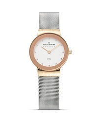 Skagen Silver And Rose Gold Mesh Watch 26Mm Rose Gold Silver