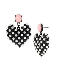 Betsey Johnson Monochrome Faux Pearl Heart Drop Earrings Black