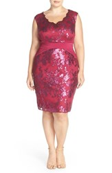 Adrianna Papell Plus Size Women's Pintuck Jersey And Sequin Lace Sheath Dress Cerise