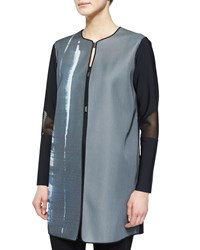 Elie Tahari Melody Mesh Sleeve Coat Black