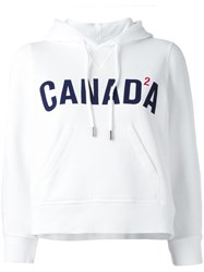 Dsquared2 Canada Cropped Hoodie White
