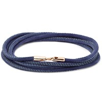 Luis Morais Rose Gold And Leather Wrap Bracelet Blue