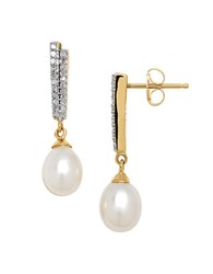 Lord And Taylor 6Mm White Pearl Diamond 14K Yellow Gold Drop Earrings