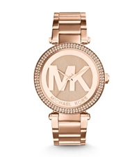 Michael Kors Parker Pave Rose Gold Tone Watch