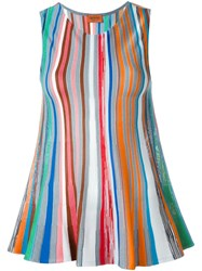 Missoni Striped Knit Sleeveless Top White
