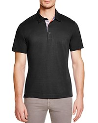 Robert Graham Stoked Stripe Placket Slim Fit Polo Shirt 100 Bloomingdale's Exclusive Black