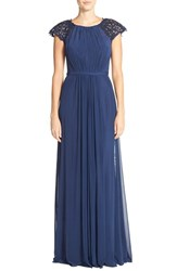 Women's La Femme Fashions Embellished Gathered Net Jersey Gown