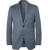 Richard James Blue Slim Fit Super 110S Wool Blazer Light Blue