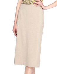 Tahari By Arthur S. Levine Exposed Zipper Pencil Skirt Latte