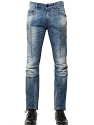 Balmain 15.5Cm Washed Stretch Denim Biker Jeans