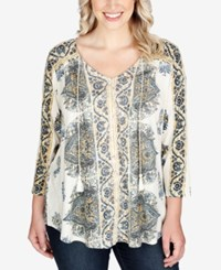 Lucky Brand Trendy Plus Size Peasant Blouse Multi