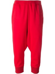 Y 3 Cropped Drop Crotch Track Pants Red