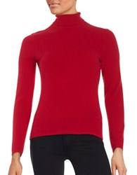 Lord And Taylor Cashmere Turtleneck Sweater Geranium