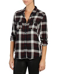 Paige Mya Long Sleeve Shirt Navy Burgundy Plaid