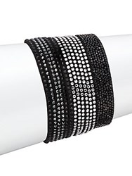 Swarovski Crystal Studded Stacked Adjustable Bracelet Set Black