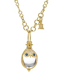 Temple St. Clair 18K Owl Pendant With Blue Sapphire And Diamond Pave Clear Gold