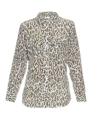 Equipment Signature Cheetah Print Silk Shirt Khaki Multi