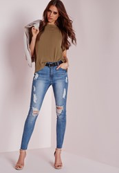 Missguided High Waisted Marbled Skinny Jeans Light Blue Blue