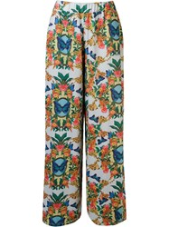Blue Man Printed Wide Leg Trousers
