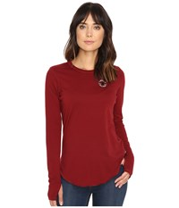 Converse Left Chest Core Patch Logo Long Sleeve Tee Red Block Women's T Shirt