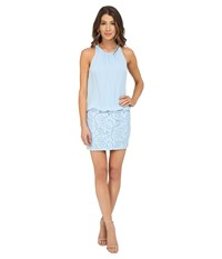 Aidan Mattox Sleeveless Cutaway Halter Blouson With Lace Skirt Light Blue Women's Dress