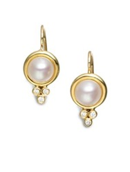 Temple St. Clair Classic 7Mm White Mabe Pearl Diamond And 18K Yellow Gold Drop Earrings